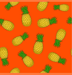 seamless pattern pineapple on orange background vector image