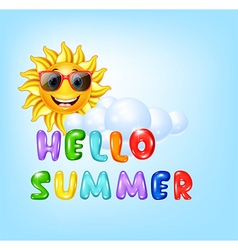 Summer background with cartoon sun character vector image vector image