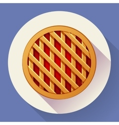 Sweet apple pie icon flat designed style vector
