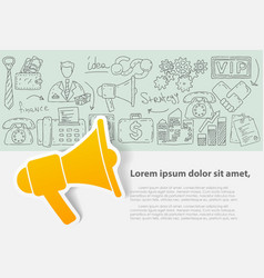 template with hand drawn doodles business vector image