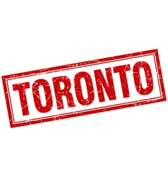 Toronto red square grunge stamp on white vector