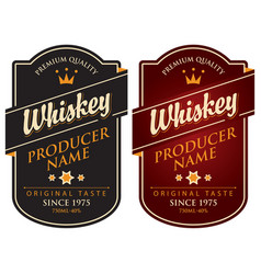 Two retro labels for whiskey in the curly frame vector