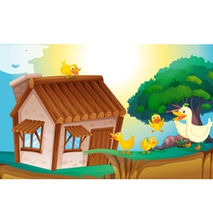 Wooden house and ducks vector