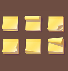yellow office sticky memory notes vector image vector image