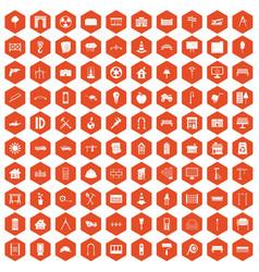 100 architecture icons hexagon orange vector