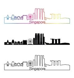 Singapore V2 skyline linear style with rainbow vector image