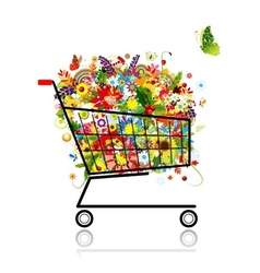 Floral bouquet in shopping cart for your design vector image