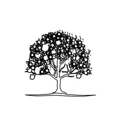 figure trees with some leaves and flowers icon vector image