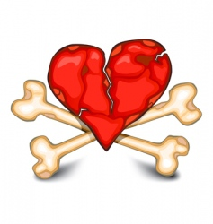 heart amp bones on white vector image