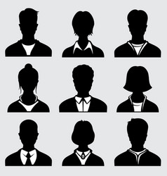Woman and man head silhouettes anonymous person vector