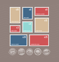Blank postage stamps in different sizes and vector