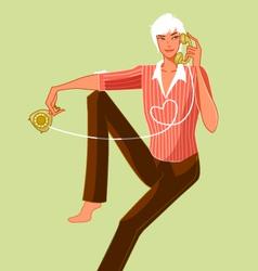 man holding telephone vector image