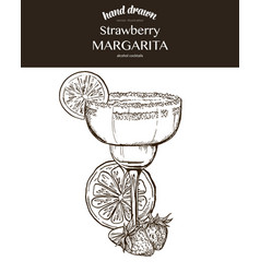 Strawberry margarita composition vector