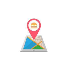 food map pointer flat icon mobile gps vector image