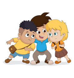 The child group talking plan together vector
