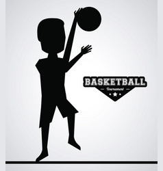 black silhouette faceless basketball player vector image