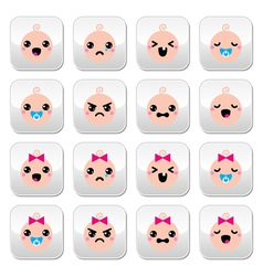 Baby boy and girl cute kawaii buttons set vector
