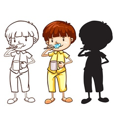 A sketch of a boy toothbrushing in different vector