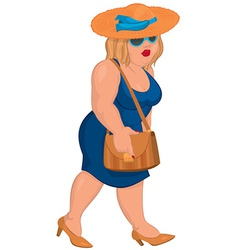 Cartoon overweight young woman in blue dress and vector