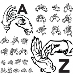 Sign language set woodcut vector