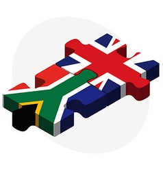 South africa and united kingdom flags in puzzle vector
