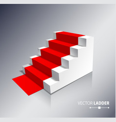 Stairs isolated on white background with red vector image