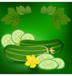 Cucumbers healthy lifestile vector