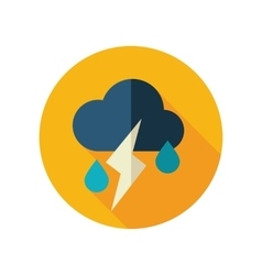 Cloud rain lightning flat icon weather vector