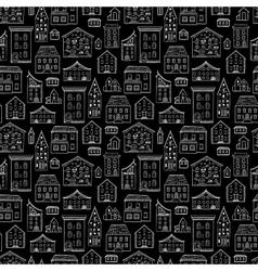 Houses Pattern Black White vector image