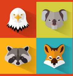 Animal portraits with flat design vector