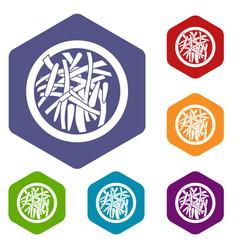 Asian salad icons set hexagon vector