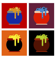 Assembly flat icons halloween witches cauldron vector