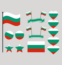 bulgaria flag set collection of symbols heart vector image vector image