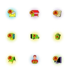 Business advertising icons set pop-art style vector