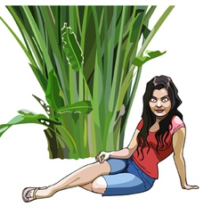 cartoon girl sits under a green tropical plant vector image vector image