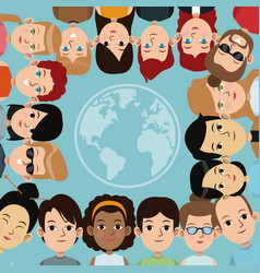 Cartoon people group community world frame vector