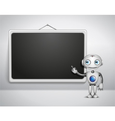 Cute robot at the board vector