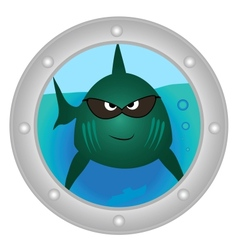 Evil fish looks in to porthole vector