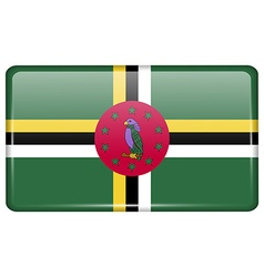 Flags Dominica in the form of a magnet on vector image