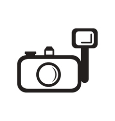 Flat icon in black and white style camera vector