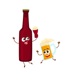 funny smiling beer bottle and mug characters vector image vector image