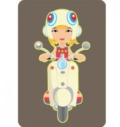 Girl riding a bike vector
