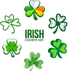 Green Irish clovers in logo style vector image