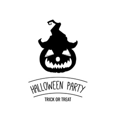 Halloween party silhouette smile pumpkin hat vector