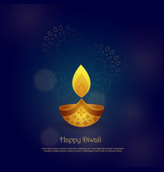 Happy diwali card design with beautiful diya vector
