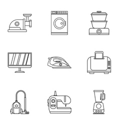 Home appliances icons set outline style vector