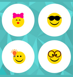 icon flat gesture set of kiss eyeglasses light vector image vector image