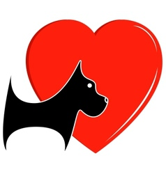 Icon with dog and heart vector