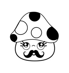 Kawaii cute thinking fungus with mustache vector