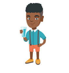 little african boy holding a glass of water vector image vector image
